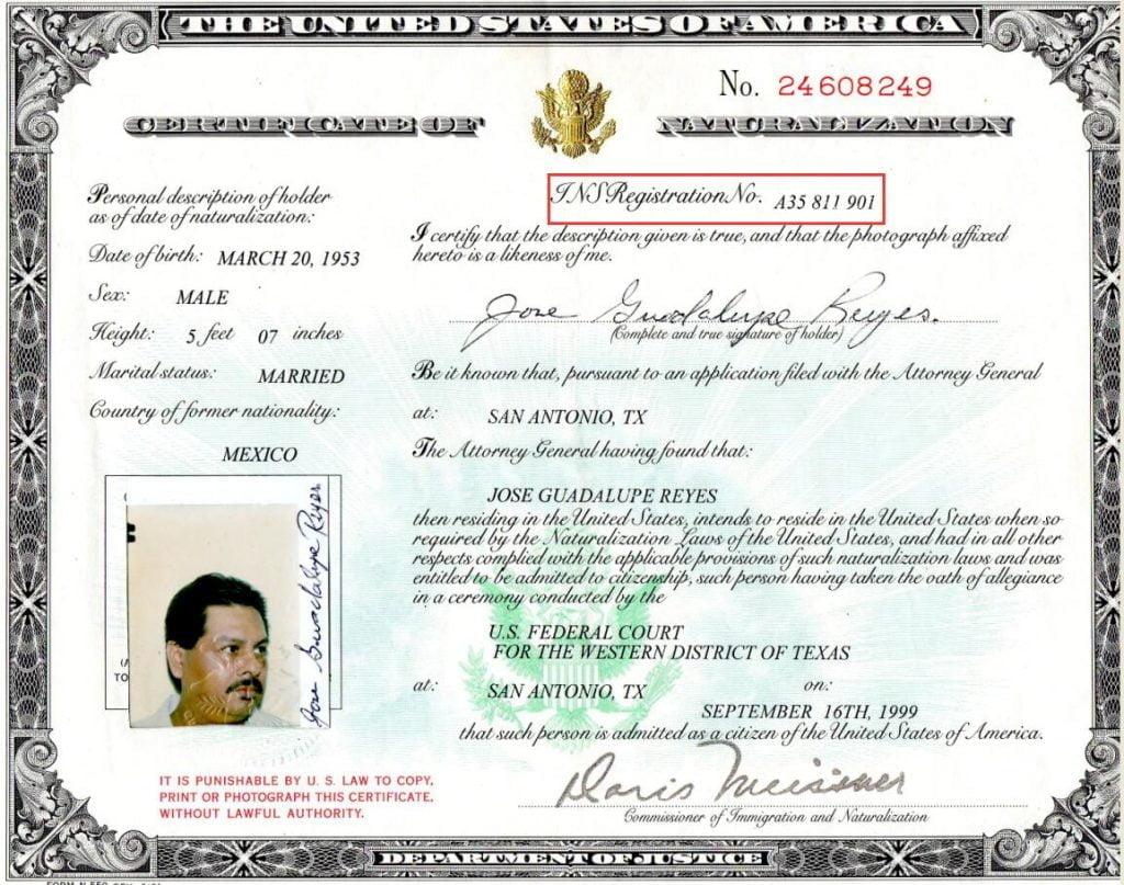 Alien Registration Number on Certificate of Naturalization
