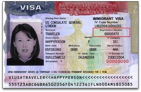 Alien Registration Number on Immigrant Visa Stamp