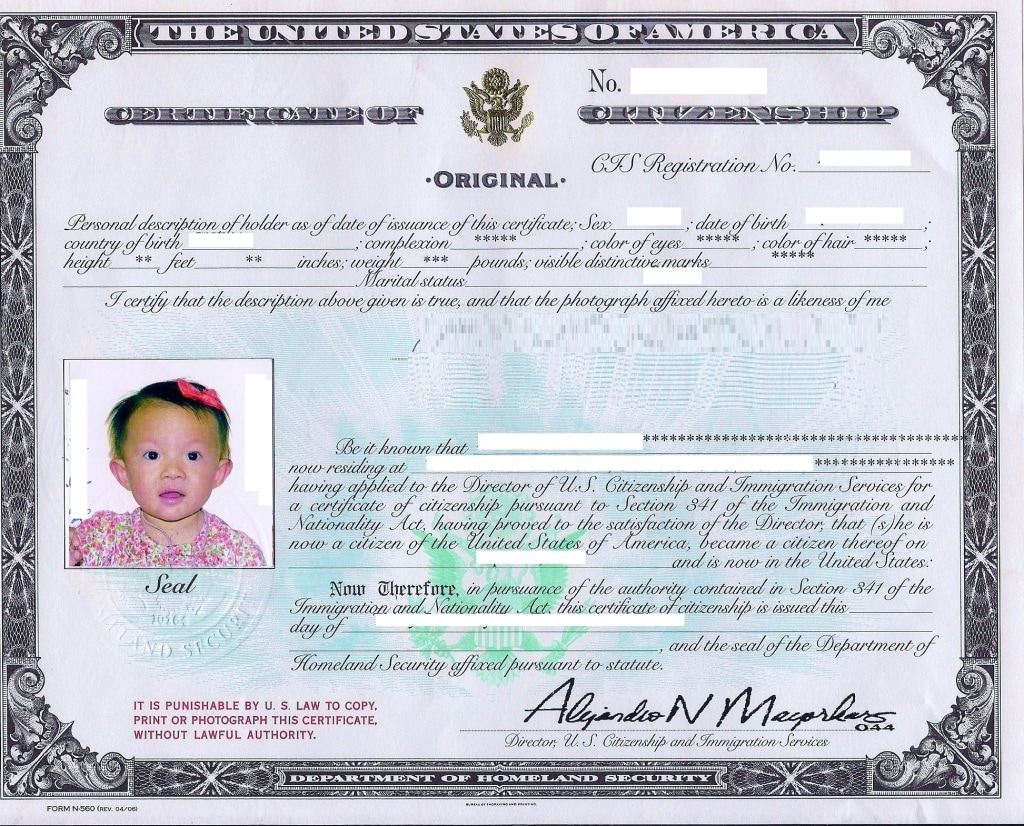 Certificate of Citizenship Sample