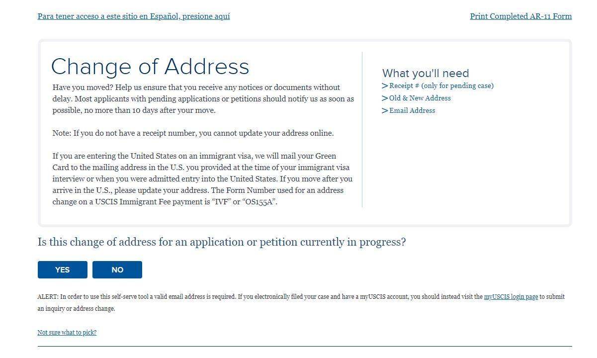 USCIS Change of Address Page