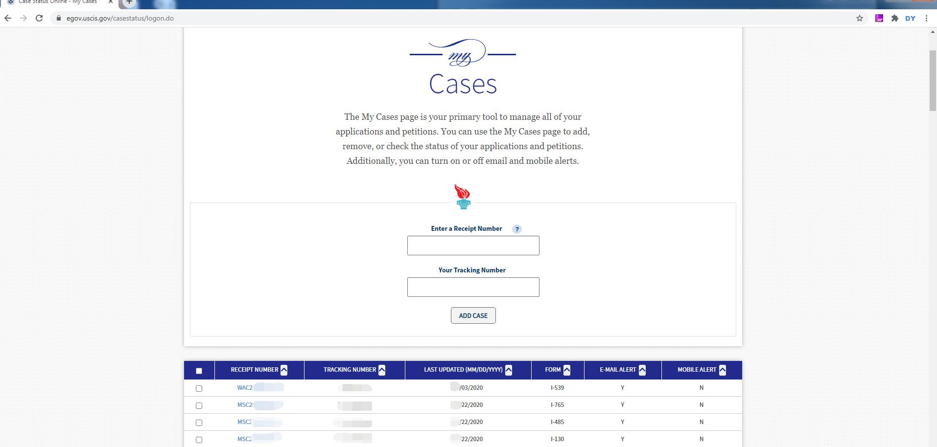USCIS Check Case Status Account