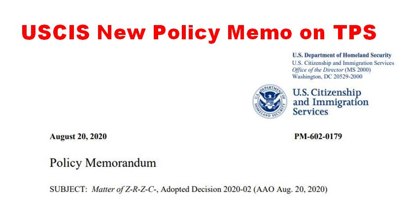 USCIS New Policy Memo on TPS